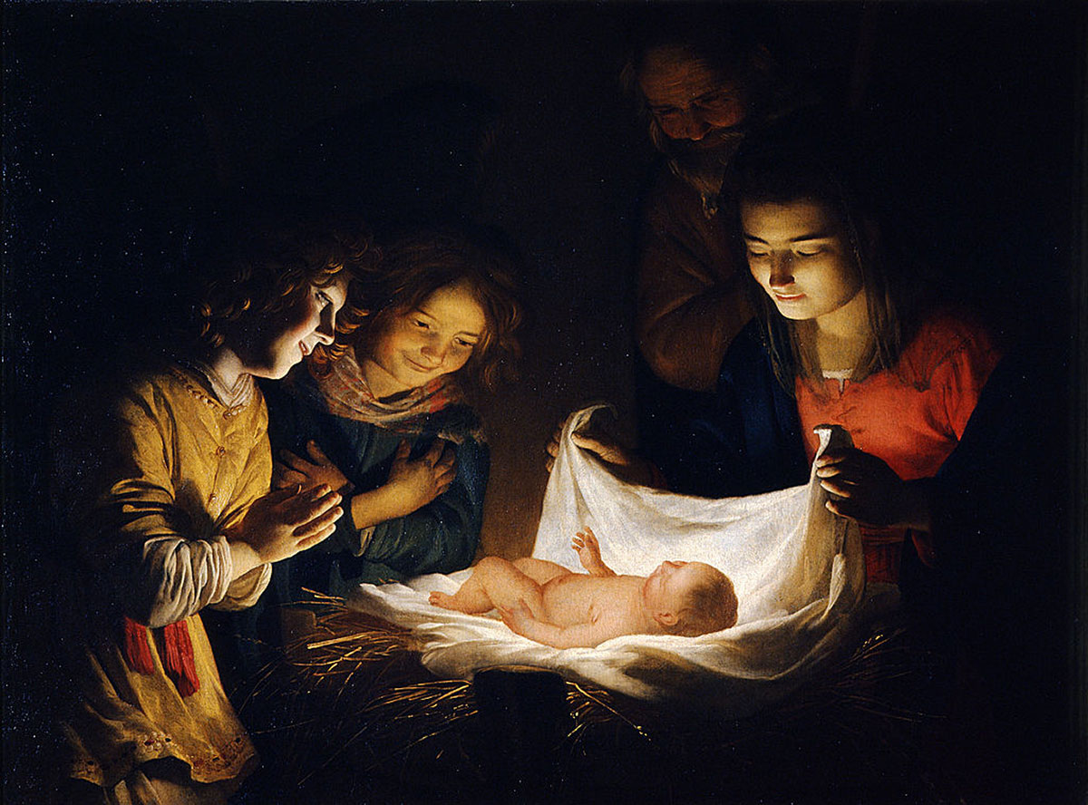 Adoration of the Christ Child /Adorazione del Bambino/ + van Honthorst, Gerard *magnifico