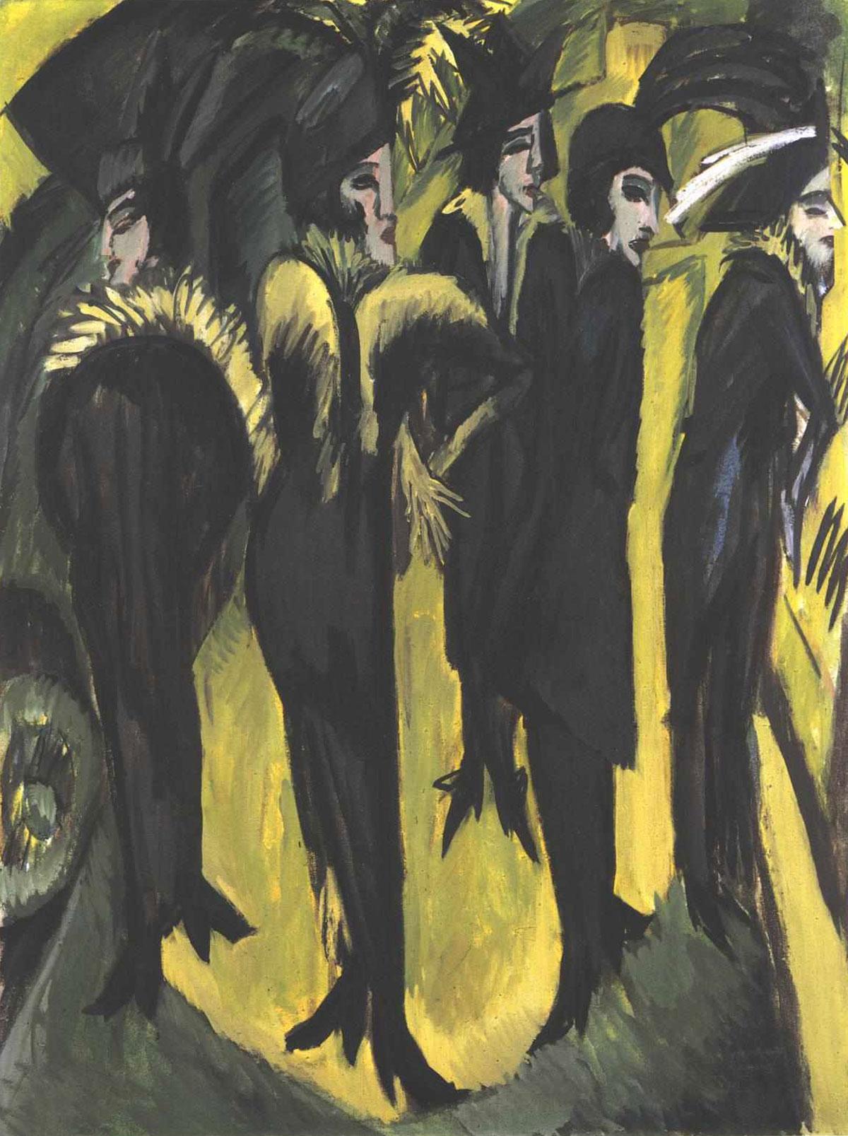 Five women at the street /Fünf frauen auf der straße/ + Kirchner, Ernst Ludwig *magnifico