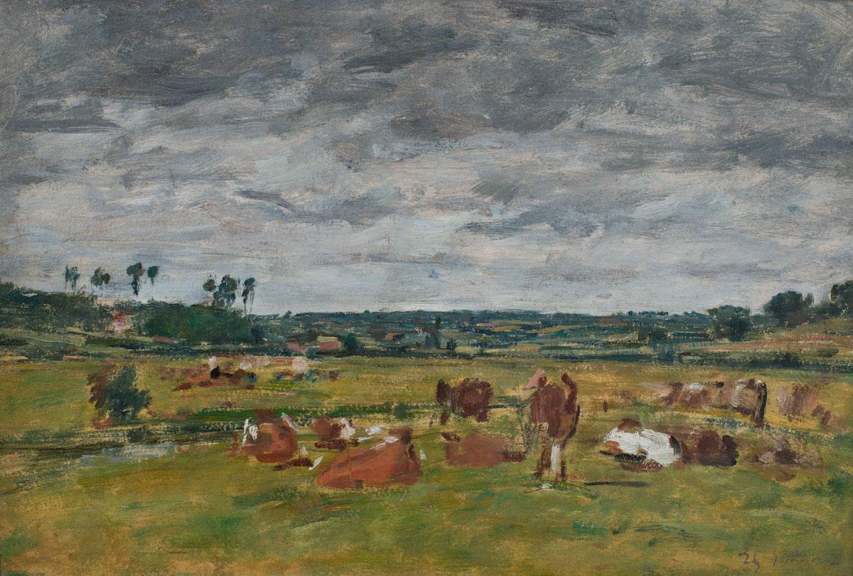 Landscape with cows /Paysage avec vaches/ + Boudin, Eugène Louis *magnifico