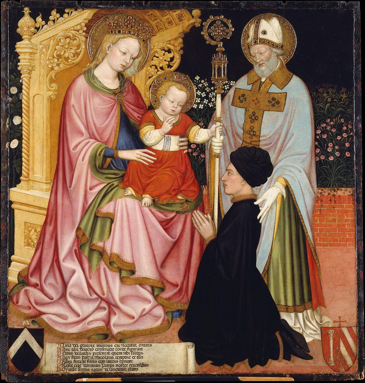 Madonna and Child with the Donor, Pietro de' Lardi, Presented by Saint Nicholas - dai Carri