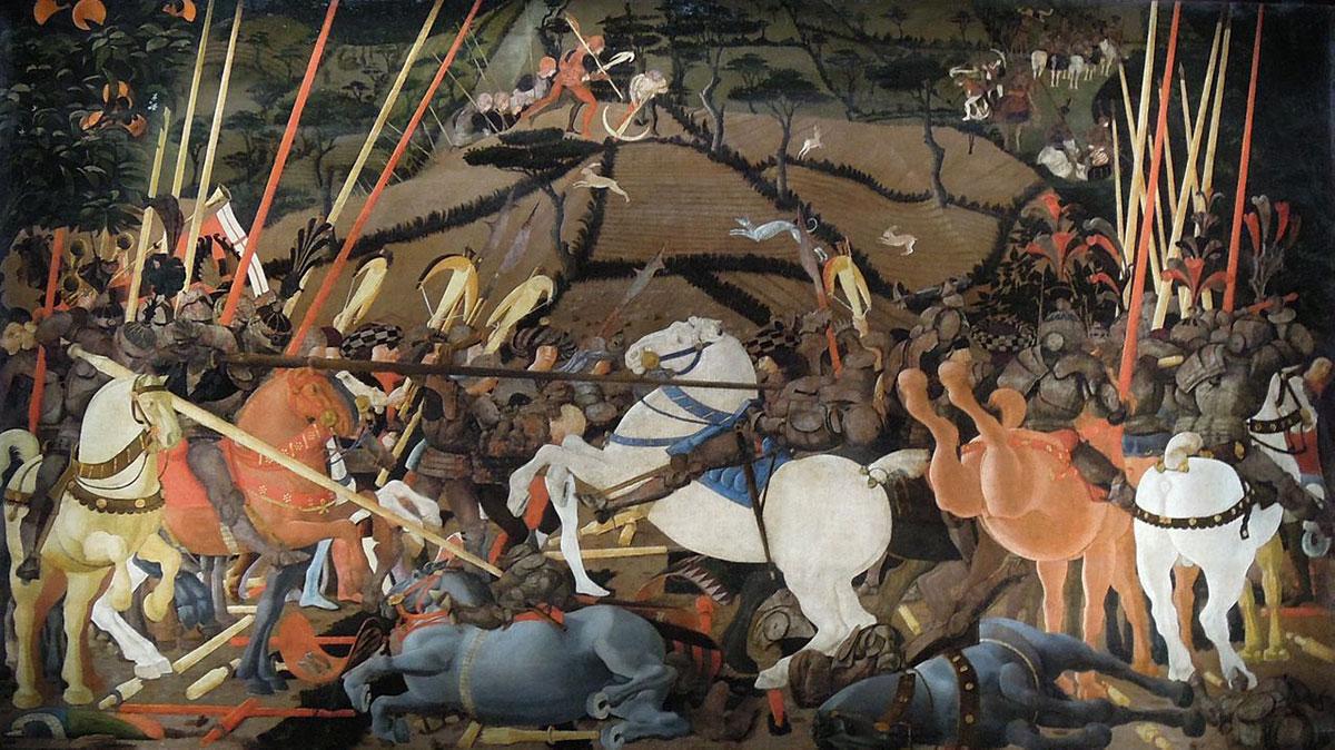 Niccolò Mauruzi da Tolentino unseats Bernardino della Ciarda at the Battle of San Romano /Disarcionamento di Bernardino della Ciarda/ + Uccello, Paolo *magnifico