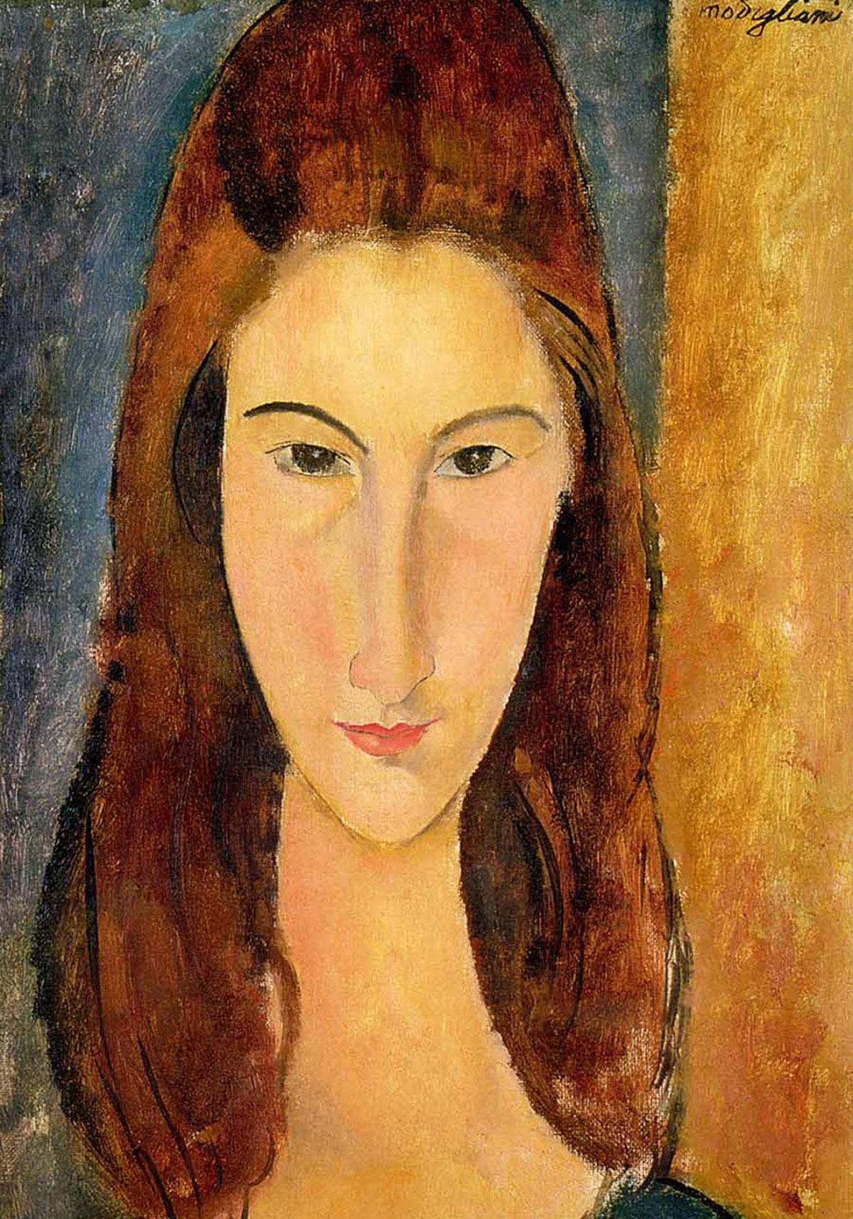 Portrait of Jeanne Hébuterne /Ritratto frontale di Jeanne Hébuterne/ + Modigliani, Amedeo Clemente *magnifico