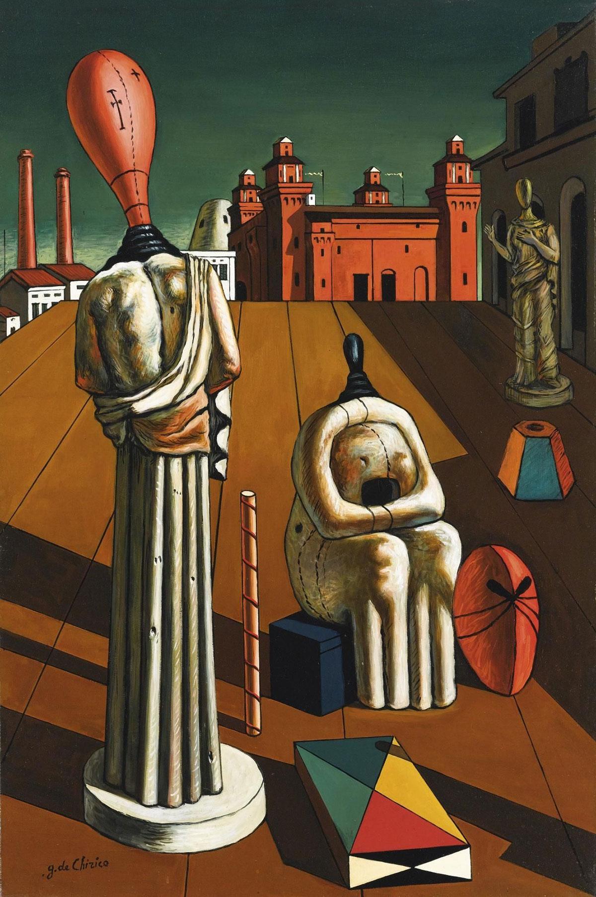The disquieting Muses /Le Muse inquietanti/ + de Chirico, Giorgio *magnifico