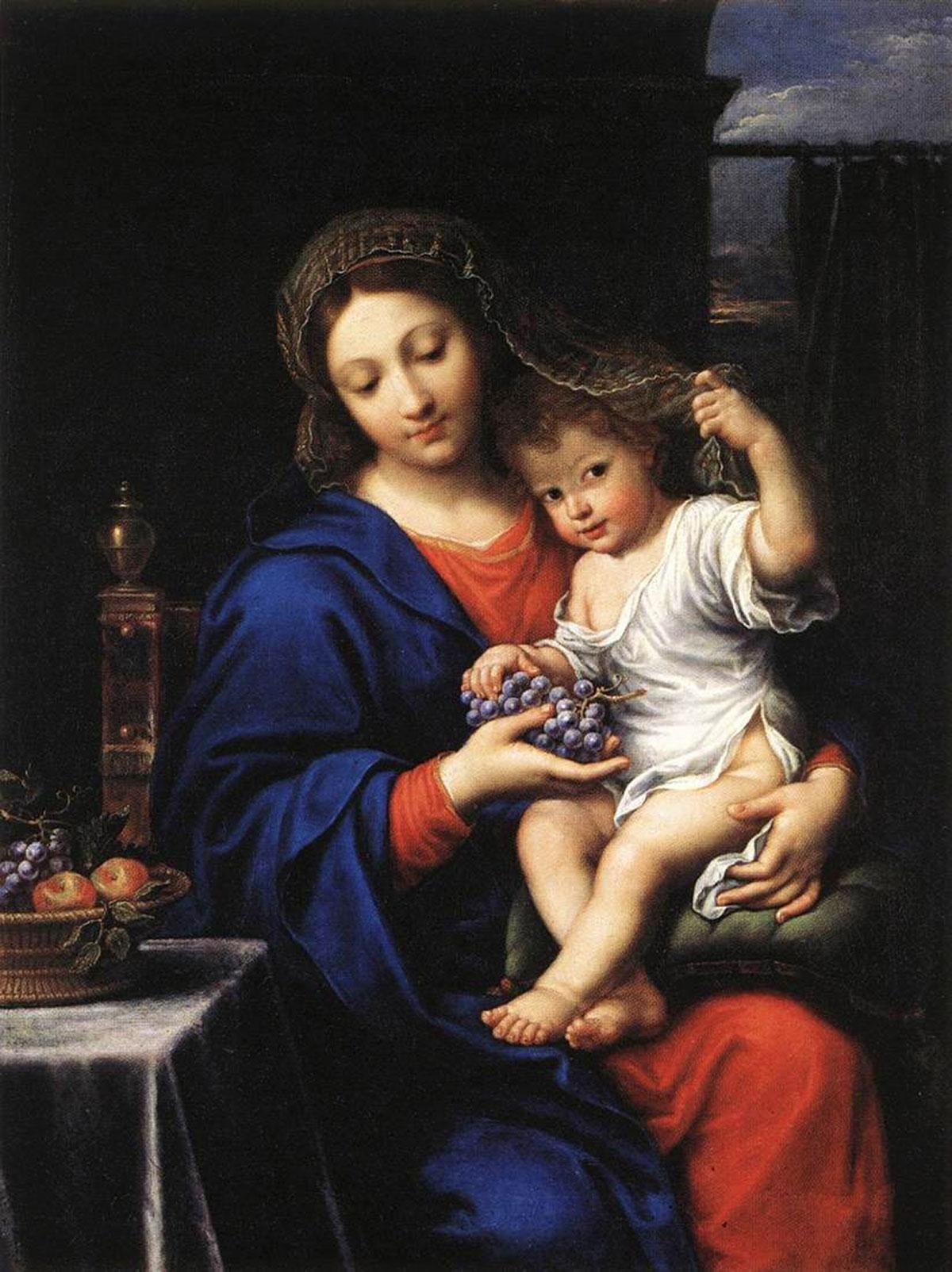 The Virgin with the grapes /La Vierge aux raisins/ + Mignard, Pierre *magnifico