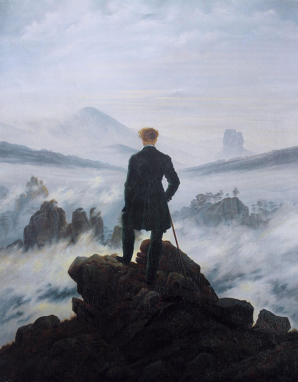 Wanderer above the Sea of Fog /Der wanderer über dem Nebelmeer/ + Friedrich, Caspar David *magnifico